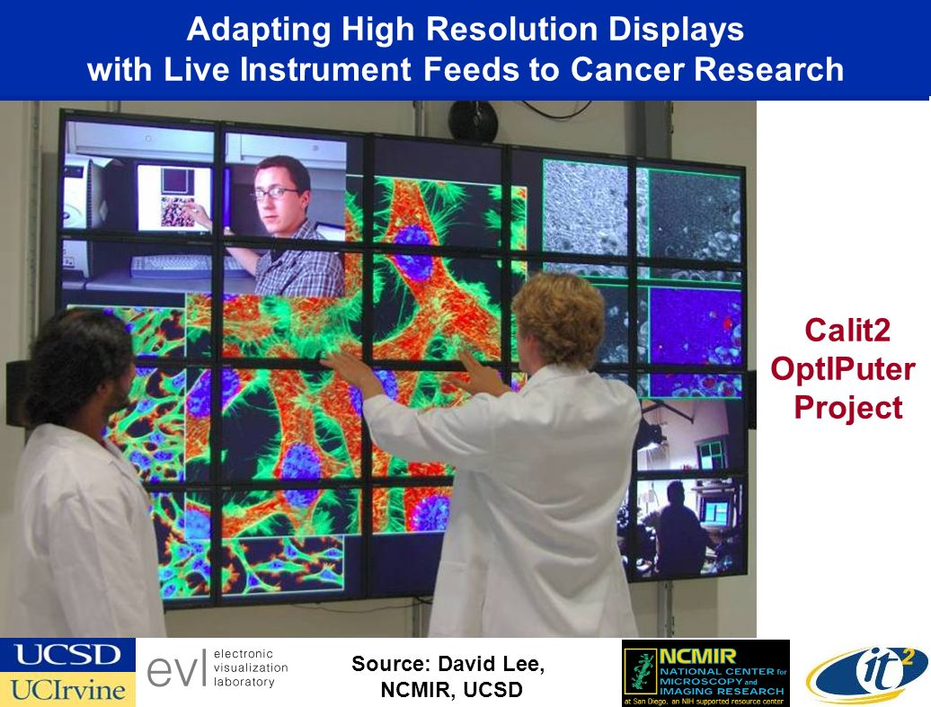Adapting High Resolution Displays with Live Instrument Feeds to Cancer Research Source: David Lee, NCMIR, UCSD Calit2 OptIPuter Project
