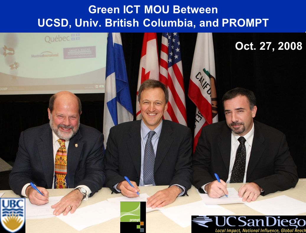 Canada-California Strategic Innovation Partnership (CCSIP) Green ICT MOU Between UCSD, Univ.
