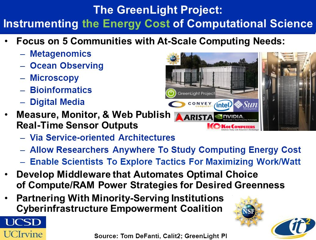 The GreenLight Project: Instrumenting the Energy Cost of Computational Science Focus on 5 Communities with At-Scale Computing Needs: –Metagenomics –Ocean Observing –Microscopy –Bioinformatics –Digital Media Measure, Monitor, & Web Publish Real-Time Sensor Outputs –Via Service-oriented Architectures –Allow Researchers Anywhere To Study Computing Energy Cost –Enable Scientists To Explore Tactics For Maximizing Work/Watt Develop Middleware that Automates Optimal Choice of Compute/RAM Power Strategies for Desired Greenness Partnering With Minority-Serving Institutions Cyberinfrastructure Empowerment Coalition Source: Tom DeFanti, Calit2; GreenLight PI
