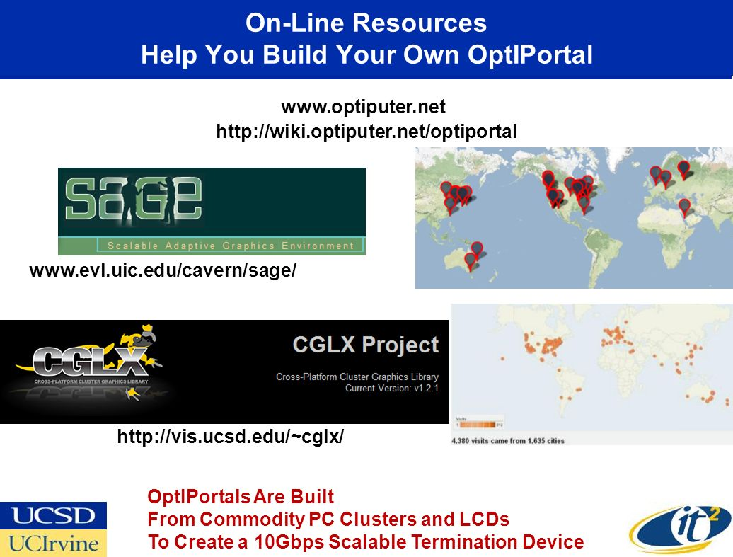 On-Line Resources Help You Build Your Own OptIPortal www.optiputer.net http://wiki.optiputer.net/optiportal http://vis.ucsd.edu/~cglx/ www.evl.uic.edu/cavern/sage/ OptIPortals Are Built From Commodity PC Clusters and LCDs To Create a 10Gbps Scalable Termination Device