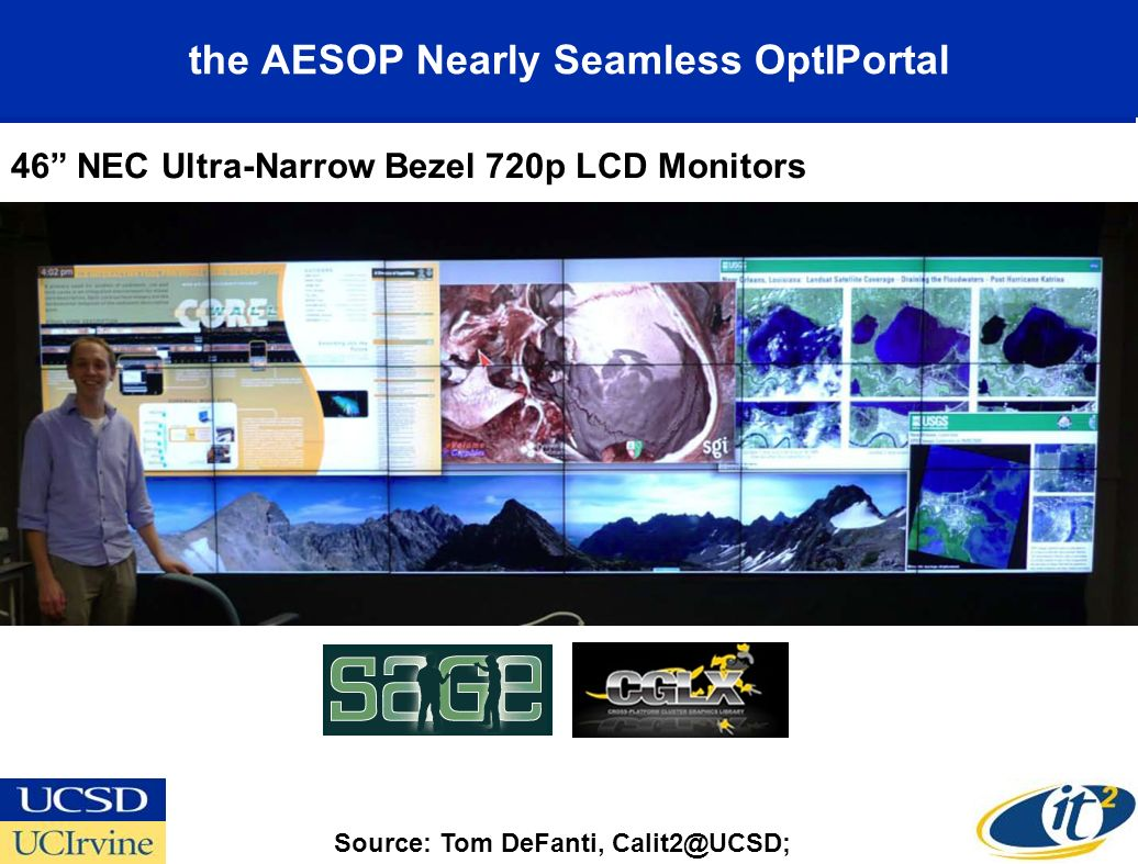 the AESOP Nearly Seamless OptIPortal Source: Tom DeFanti, Calit2@UCSD; 46 NEC Ultra-Narrow Bezel 720p LCD Monitors