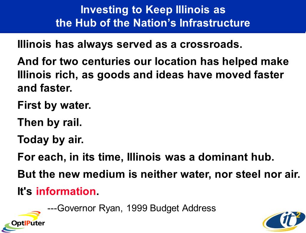 Investing to Keep Illinois as the Hub of the Nations Infrastructure Illinois has always served as a crossroads.
