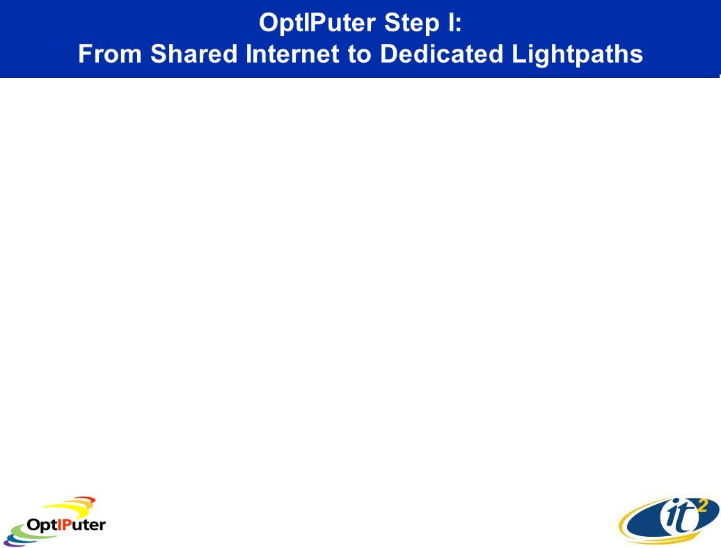 OptIPuter Step I: From Shared Internet to Dedicated Lightpaths
