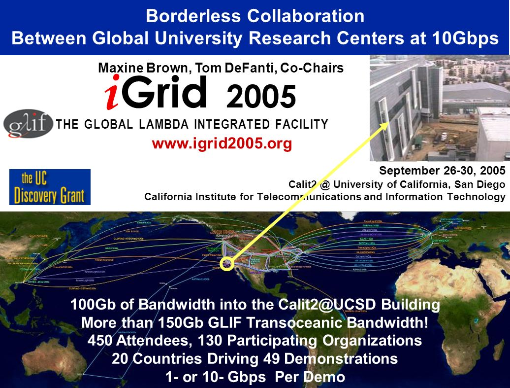 September 26-30, 2005 Calit2 @ University of California, San Diego California Institute for Telecommunications and Information Technology Borderless Collaboration Between Global University Research Centers at 10Gbps i Grid 2005 T H E G L O B A L L A M B D A I N T E G R A T E D F A C I L I T Y Maxine Brown, Tom DeFanti, Co-Chairs www.igrid2005.org 100Gb of Bandwidth into the Calit2@UCSD Building More than 150Gb GLIF Transoceanic Bandwidth.