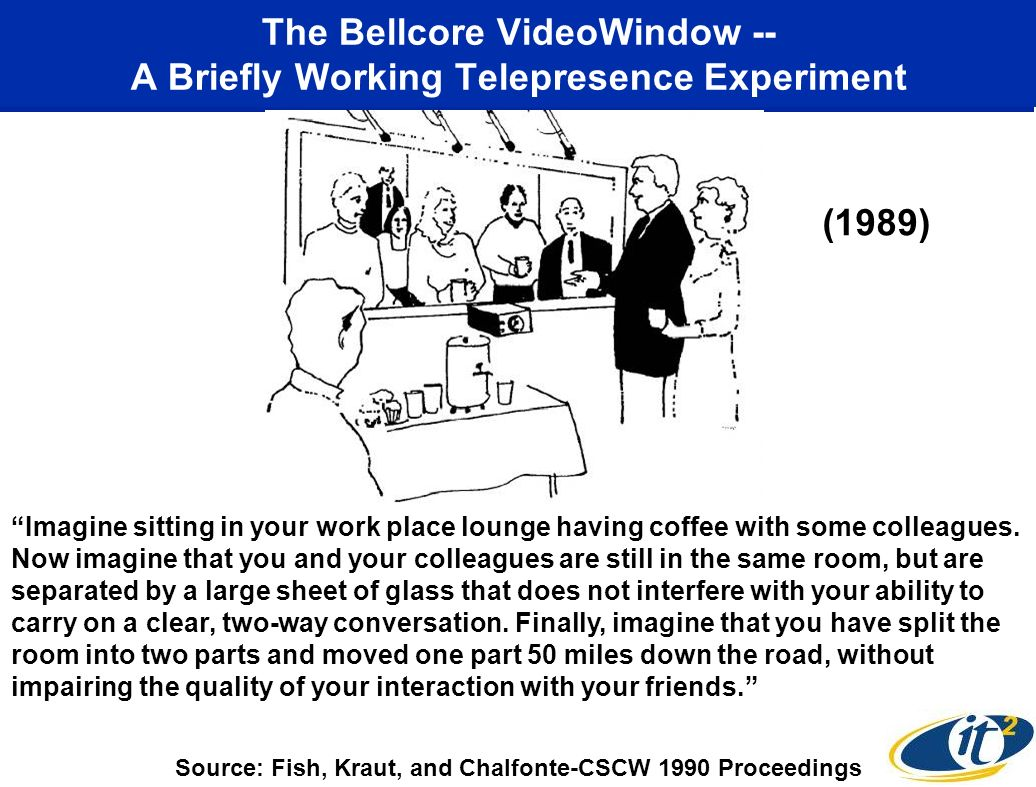 The Bellcore VideoWindow -- A Briefly Working Telepresence Experiment Imagine sitting in your work place lounge having coffee with some colleagues.