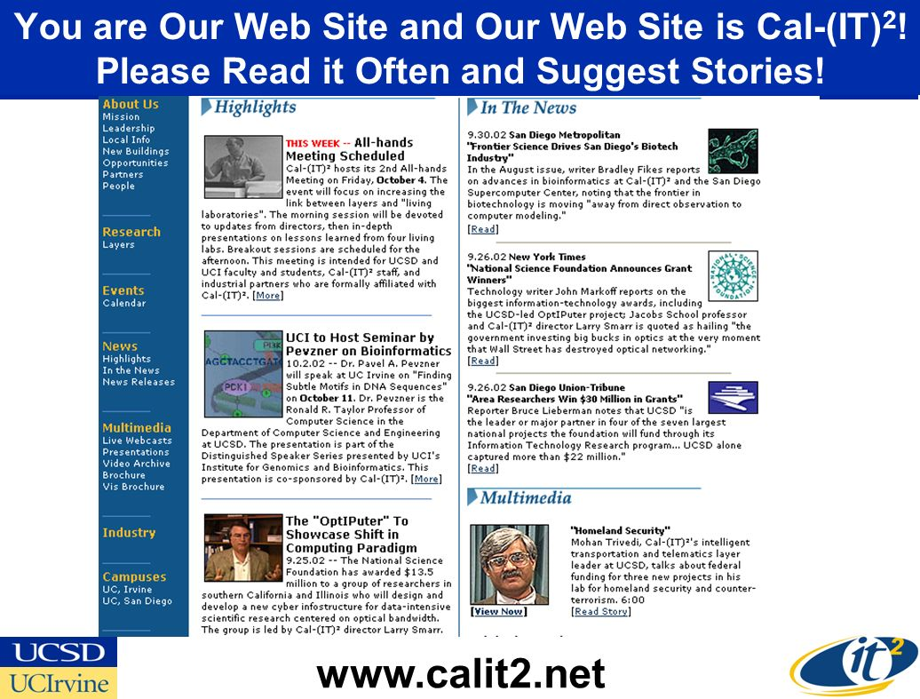 You are Our Web Site and Our Web Site is Cal-(IT) 2 .