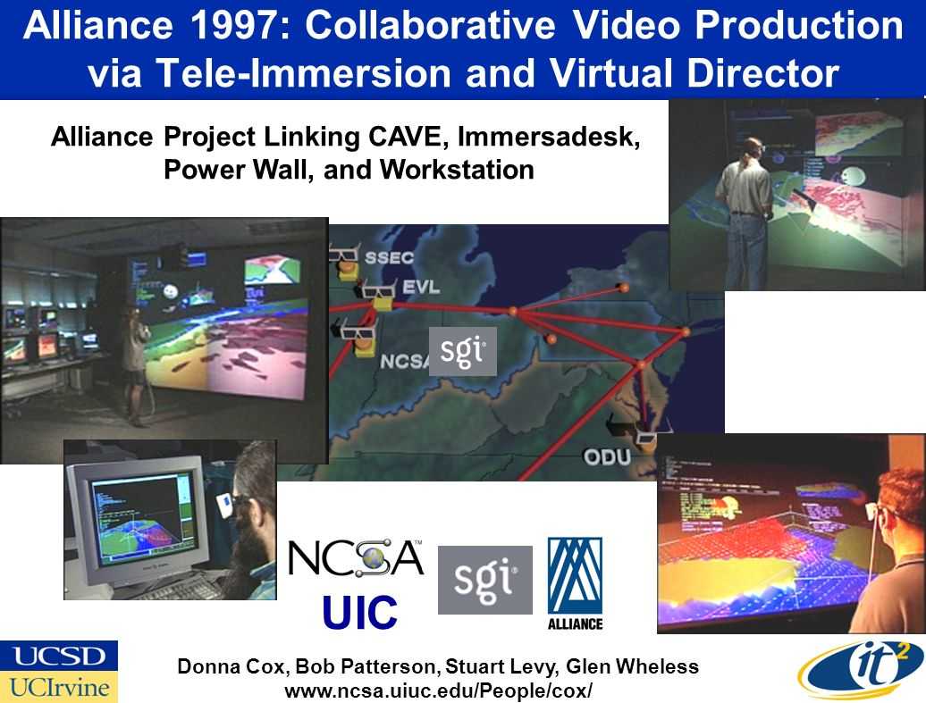 Alliance 1997: Collaborative Video Production via Tele-Immersion and Virtual Director Donna Cox, Bob Patterson, Stuart Levy, Glen Wheless www.ncsa.uiuc.edu/People/cox/ Alliance Project Linking CAVE, Immersadesk, Power Wall, and Workstation UIC