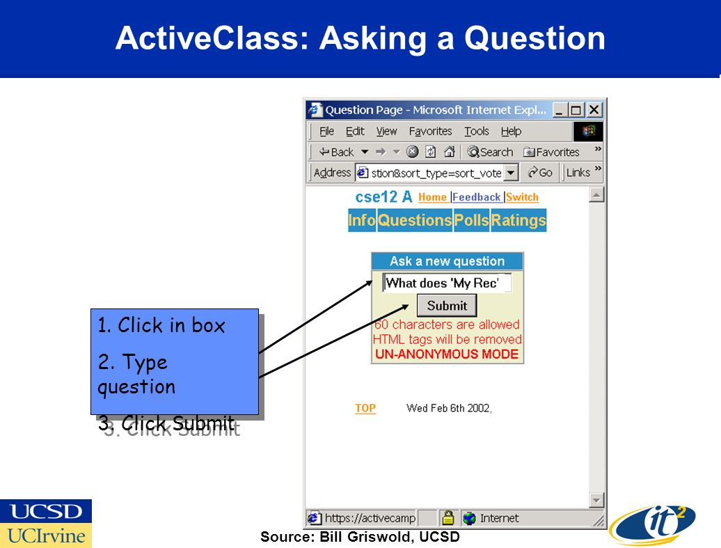 ActiveClass: Asking a Question 1. Click in box 2.