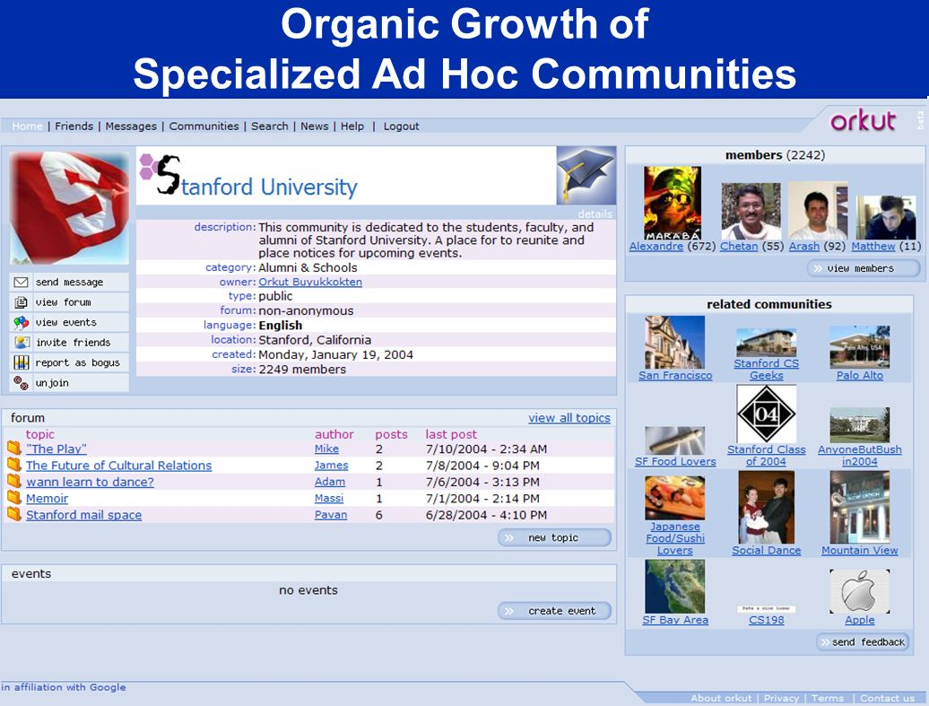 Organic Growth of Specialized Ad Hoc Communities