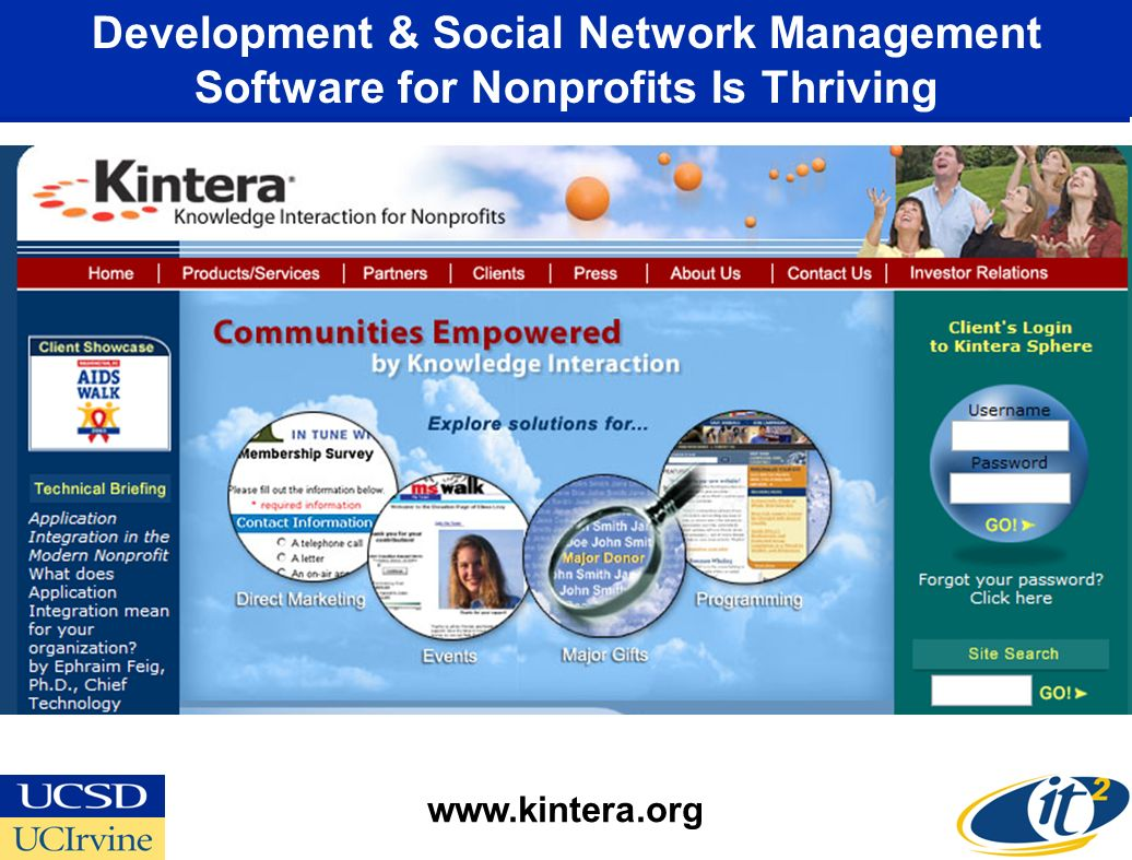 Development & Social Network Management Software for Nonprofits Is Thriving www.kintera.org