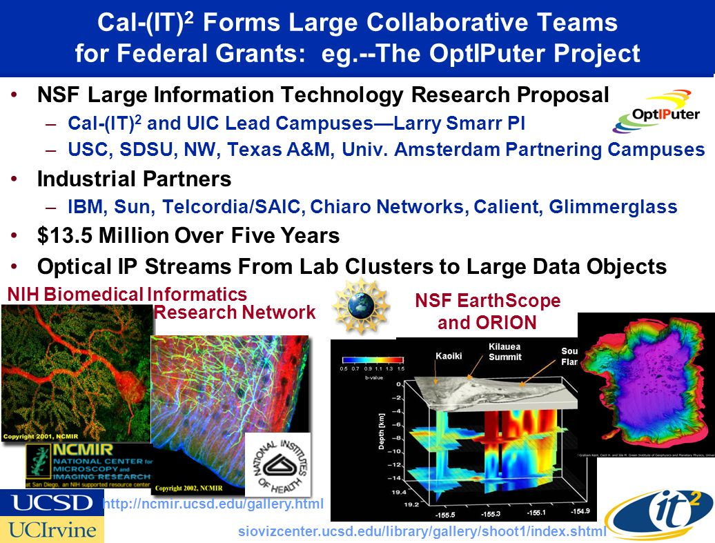 Cal-(IT) 2 Forms Large Collaborative Teams for Federal Grants: eg.--The OptIPuter Project NSF Large Information Technology Research Proposal –Cal-(IT) 2 and UIC Lead CampusesLarry Smarr PI –USC, SDSU, NW, Texas A&M, Univ.