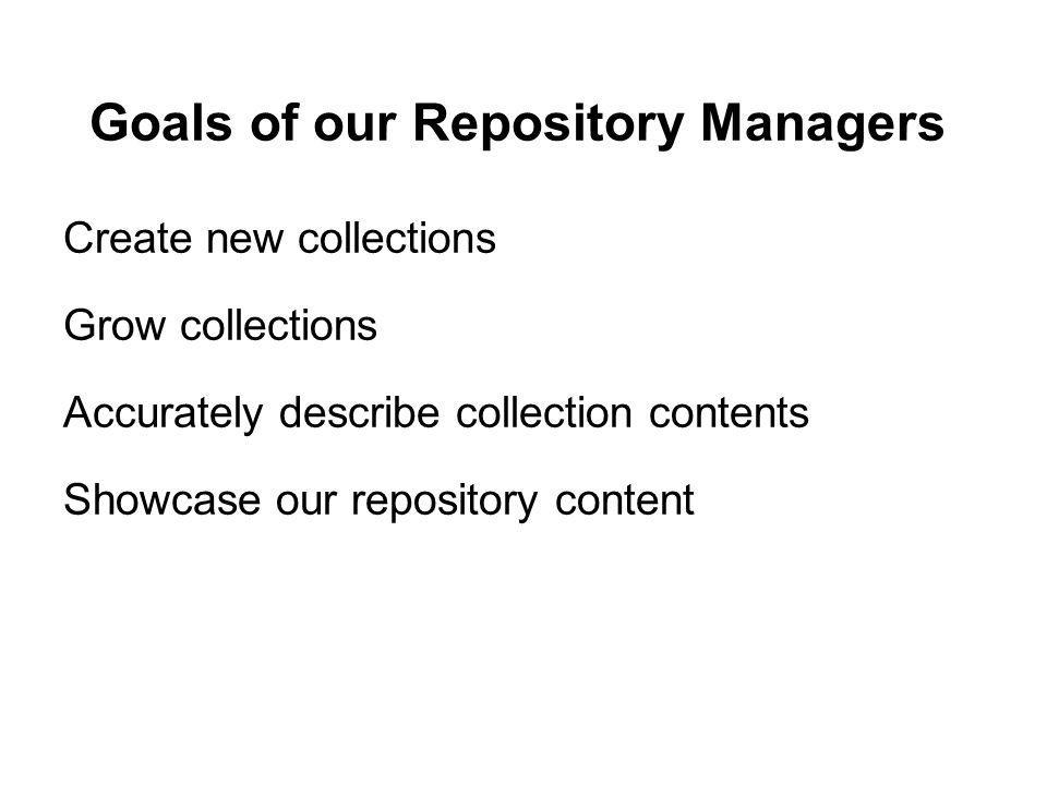 Goals of our Repository Managers Create new collections Grow collections Accurately describe collection contents Showcase our repository content