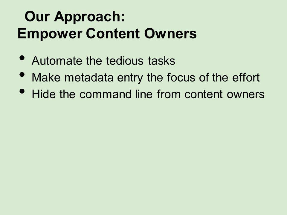 Our Approach: Empower Content Owners Automate the tedious tasks Make metadata entry the focus of the effort Hide the command line from content owners