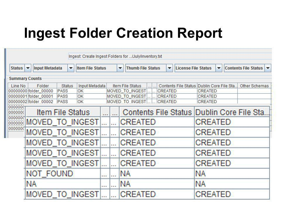 Ingest Folder Creation Report