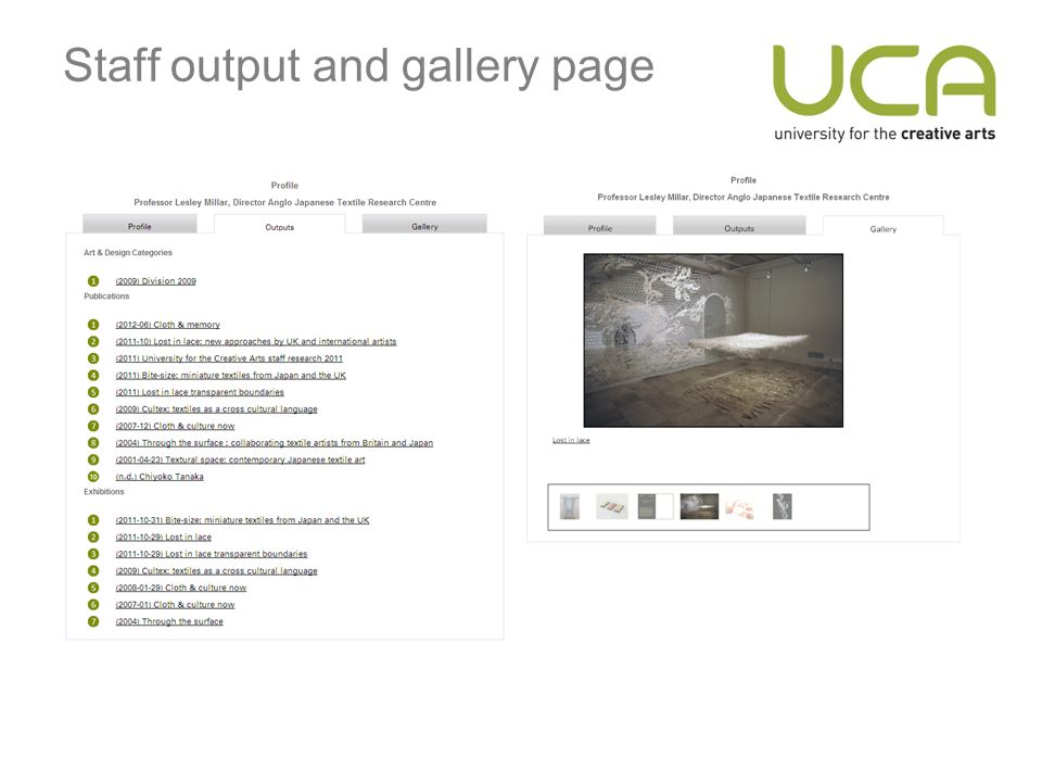 Staff output and gallery page