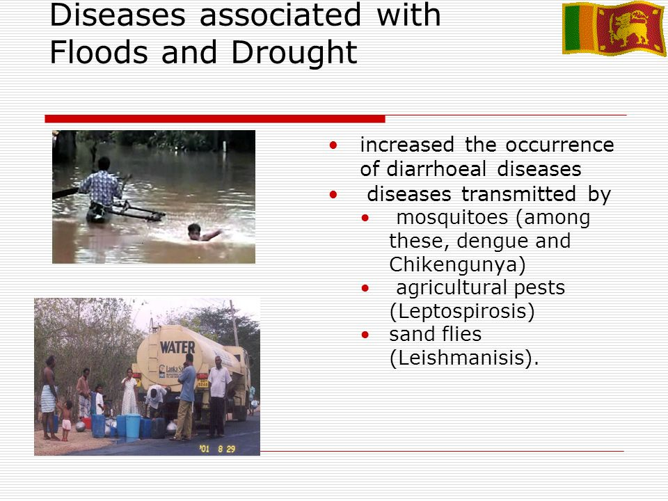 Diseases associated with Floods and Drought increased the occurrence of diarrhoeal diseases diseases transmitted by mosquitoes (among these, dengue and Chikengunya) agricultural pests (Leptospirosis) sand flies (Leishmanisis).