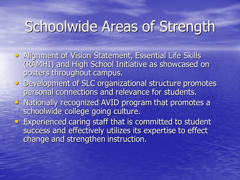 Schoolwide Areas of Strength Alignment of Vision Statement, Essential Life Skills (RAMHI) and High School Initiative as showcased on posters throughout campus.