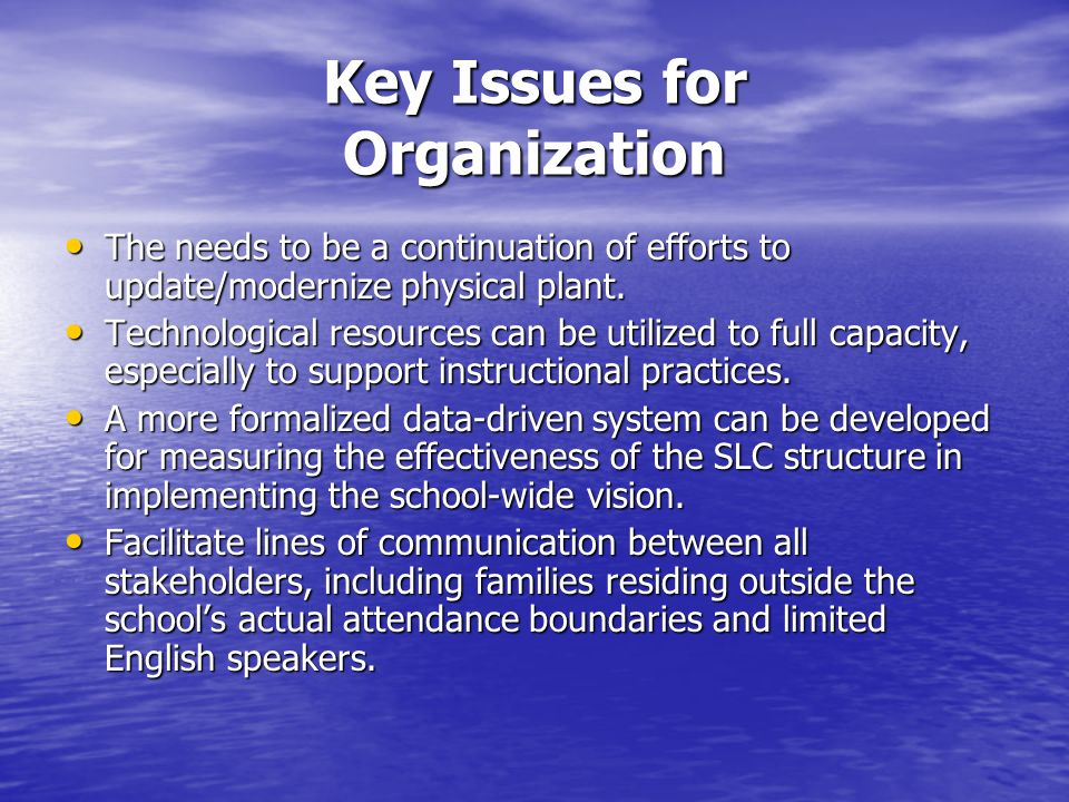 Key Issues for Organization The needs to be a continuation of efforts to update/modernize physical plant.