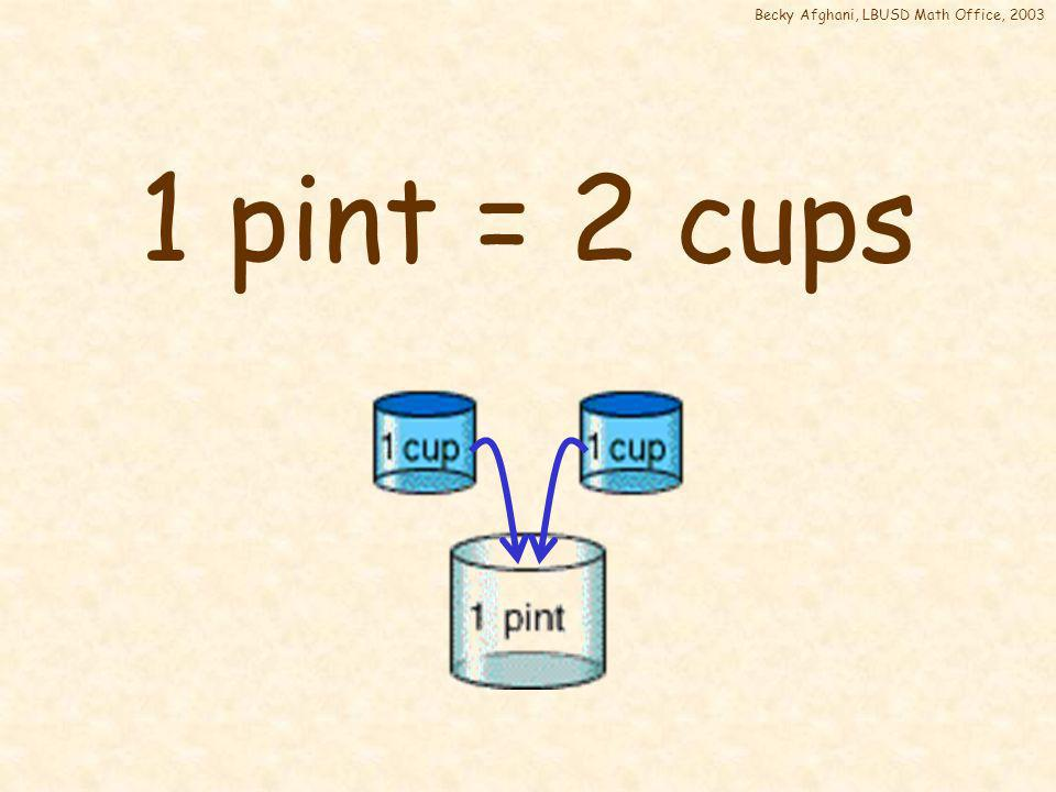 Becky Afghani, LBUSD Math Office, 2003 1 pint = __ cups
