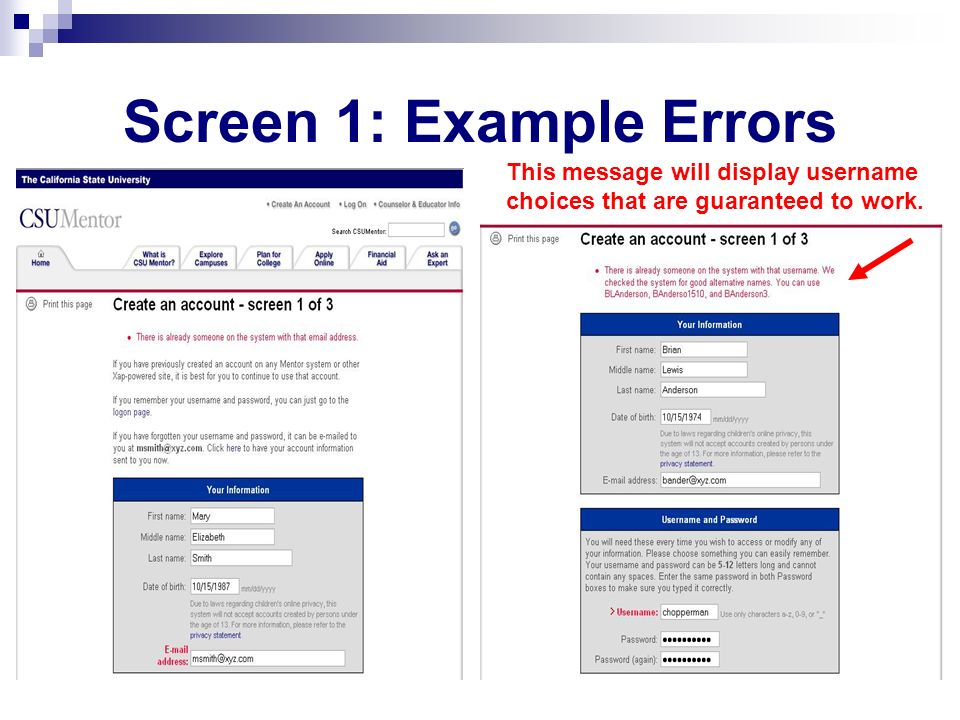 Screen 1: Example Errors This message will display username choices that are guaranteed to work.