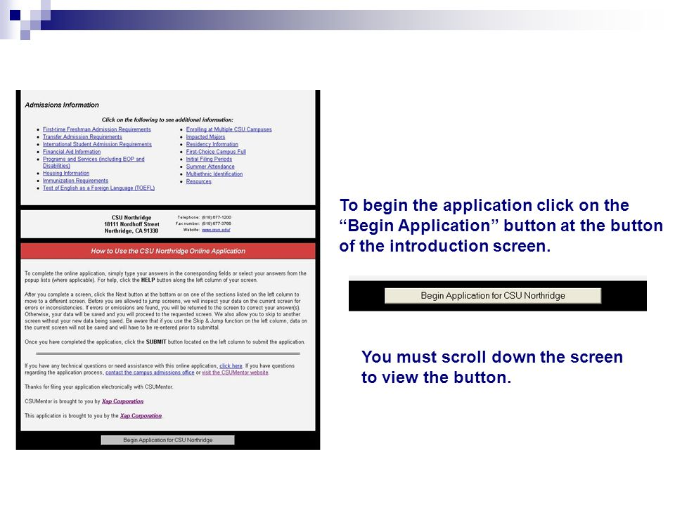 To begin the application click on the Begin Application button at the button of the introduction screen.