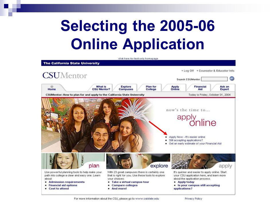 Selecting the 2005-06 Online Application