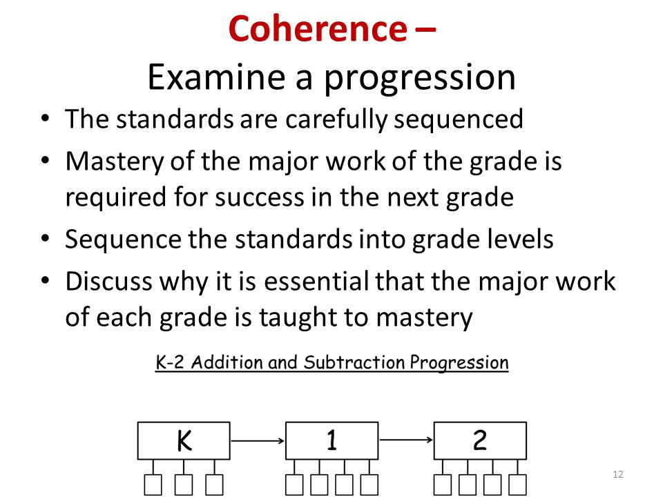 Coherence – Examine a progression The standards are carefully sequenced Mastery of the major work of the grade is required for success in the next grade Sequence the standards into grade levels Discuss why it is essential that the major work of each grade is taught to mastery 12