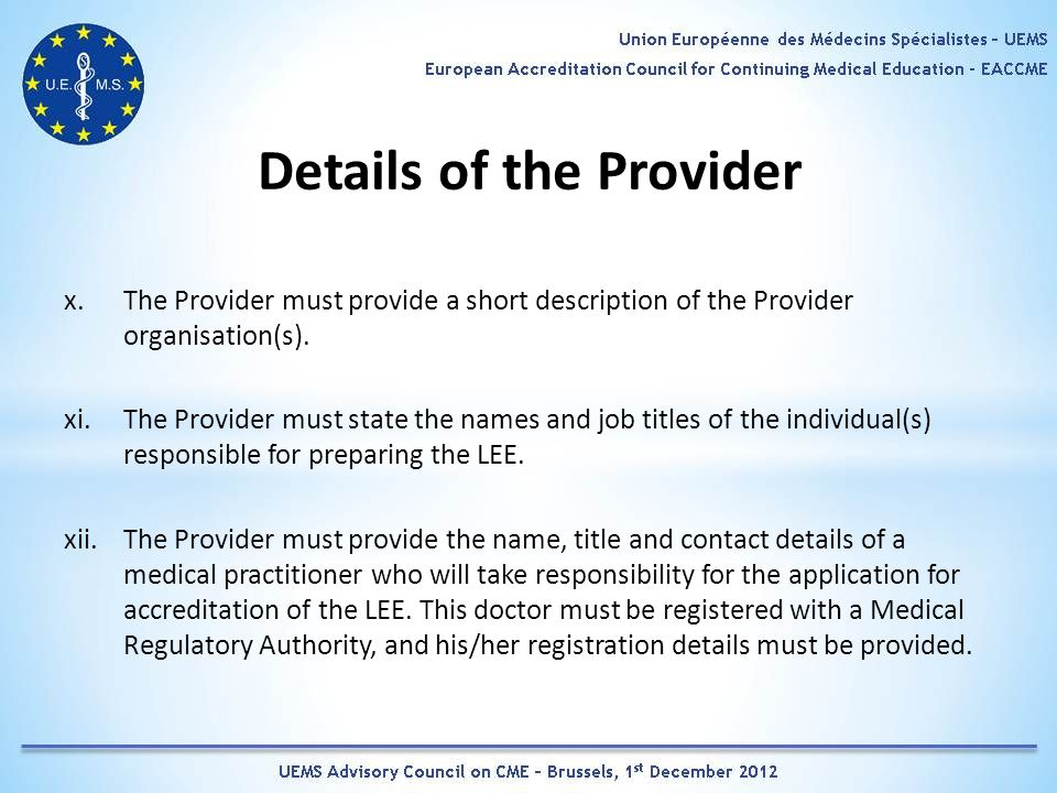 Details of the Provider x.The Provider must provide a short description of the Provider organisation(s).