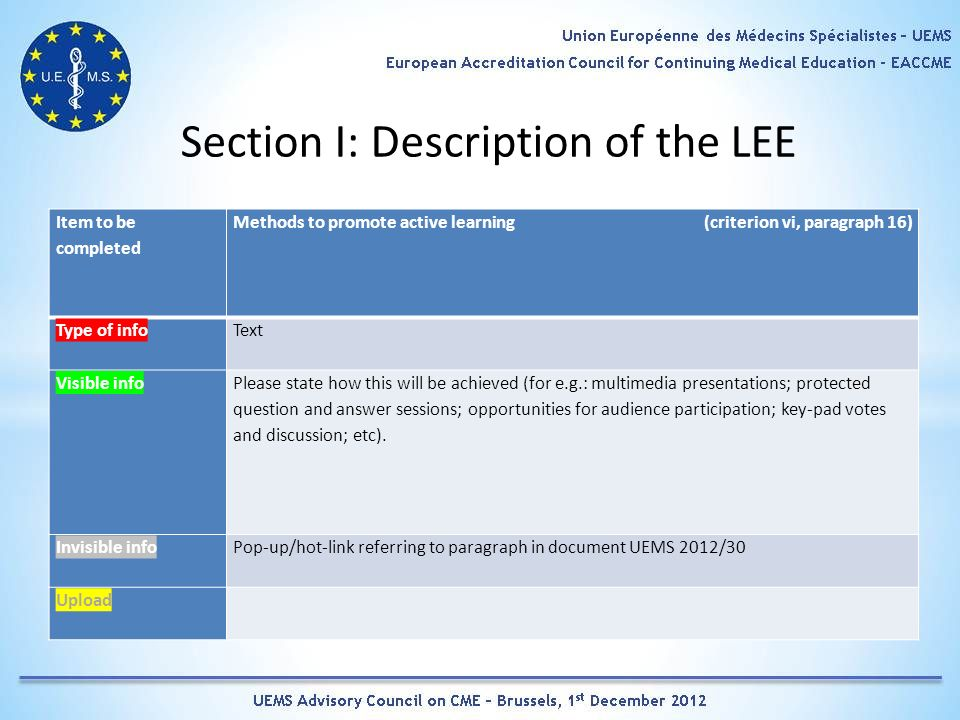 Section I: Description of the LEE Item to be completed Methods to promote active learning (criterion vi, paragraph 16) Type of infoText Visible info Please state how this will be achieved (for e.g.: multimedia presentations; protected question and answer sessions; opportunities for audience participation; key-pad votes and discussion; etc).