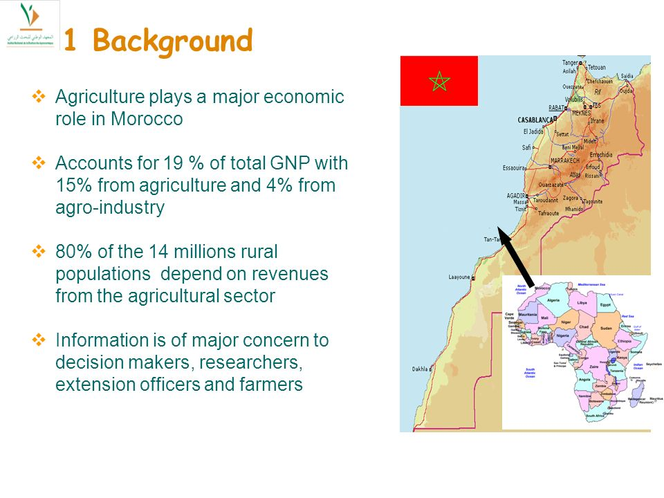 Agriculture plays a major economic role in Morocco Accounts for 19 % of total GNP with 15% from agriculture and 4% from agro-industry 80% of the 14 millions rural populations depend on revenues from the agricultural sector Information is of major concern to decision makers, researchers, extension officers and farmers 1 Background