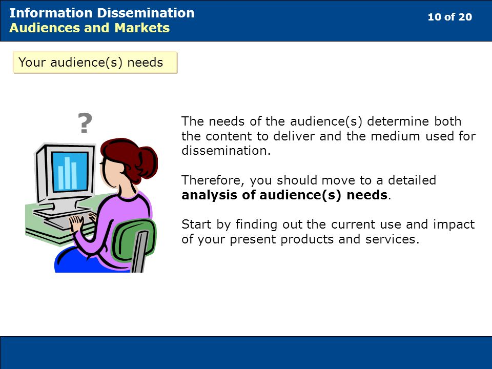 10 of 20 Information Dissemination Audiences and Markets The needs of the audience(s) determine both the content to deliver and the medium used for dissemination.