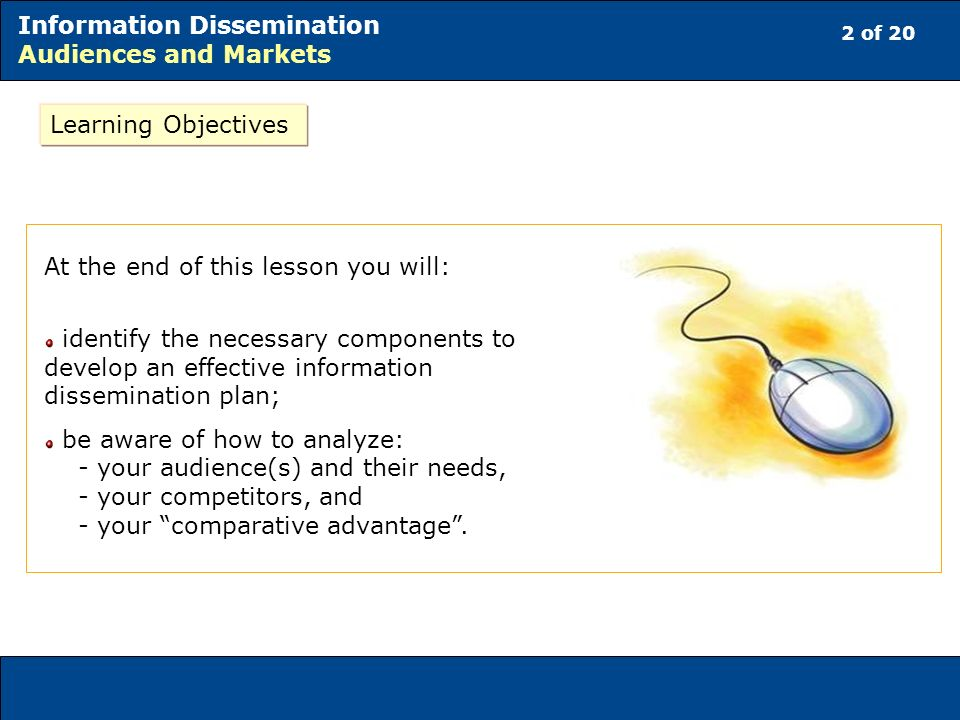2 of 20 Information Dissemination Audiences and Markets At the end of this lesson you will: identify the necessary components to develop an effective information dissemination plan; be aware of how to analyze: - your audience(s) and their needs, - your competitors, and - your comparative advantage.