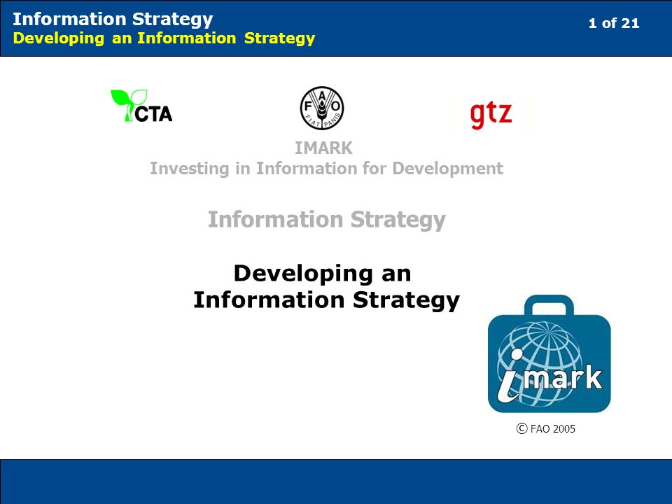 1 of 21 Information Strategy Developing an Information Strategy © FAO 2005 IMARK Investing in Information for Development Information Strategy Developing an Information Strategy