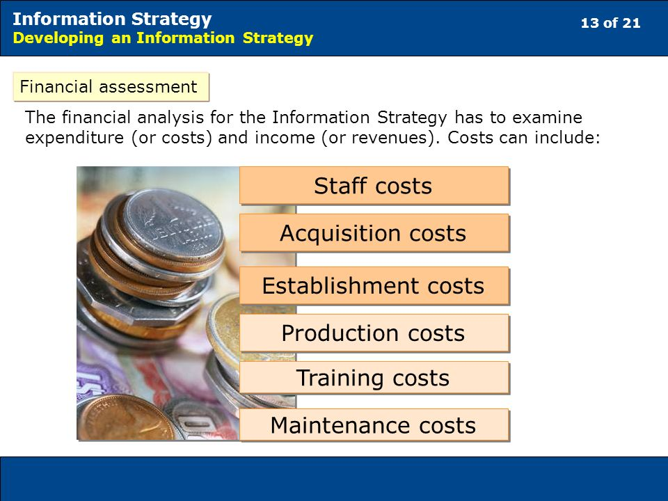 13 of 21 Information Strategy Developing an Information Strategy Financial assessment The financial analysis for the Information Strategy has to examine expenditure (or costs) and income (or revenues).