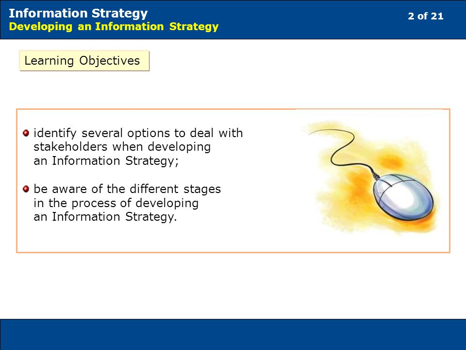 2 of 21 Information Strategy Developing an Information Strategy Learning Objectives identify several options to deal with stakeholders when developing an Information Strategy; be aware of the different stages in the process of developing an Information Strategy.