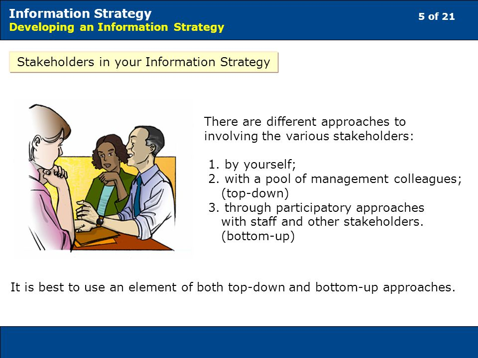 5 of 21 Information Strategy Developing an Information Strategy Stakeholders in your Information Strategy There are different approaches to involving the various stakeholders: 1.