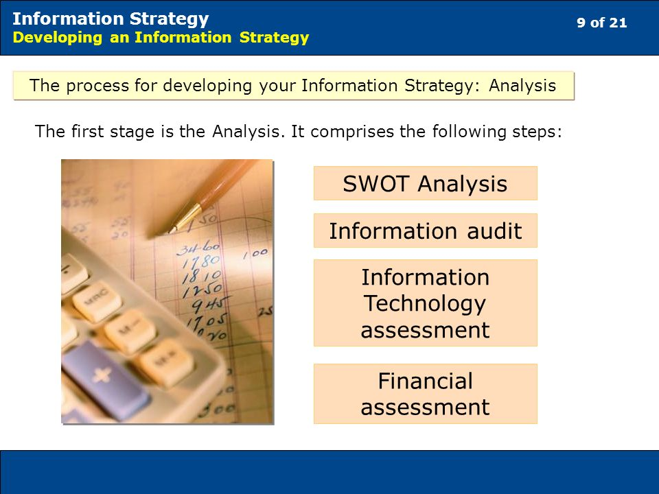 9 of 21 Information Strategy Developing an Information Strategy The first stage is the Analysis.