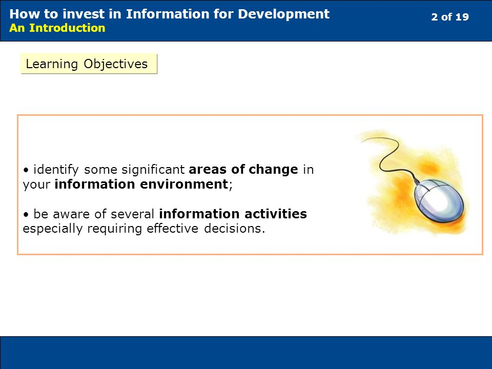 2 of 19 How to invest in Information for Development An Introduction Learning Objectives identify some significant areas of change in your information environment; be aware of several information activities especially requiring effective decisions.