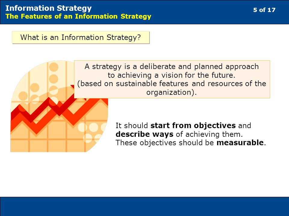 5 of 17 Information Strategy The Features of an Information Strategy What is an Information Strategy.