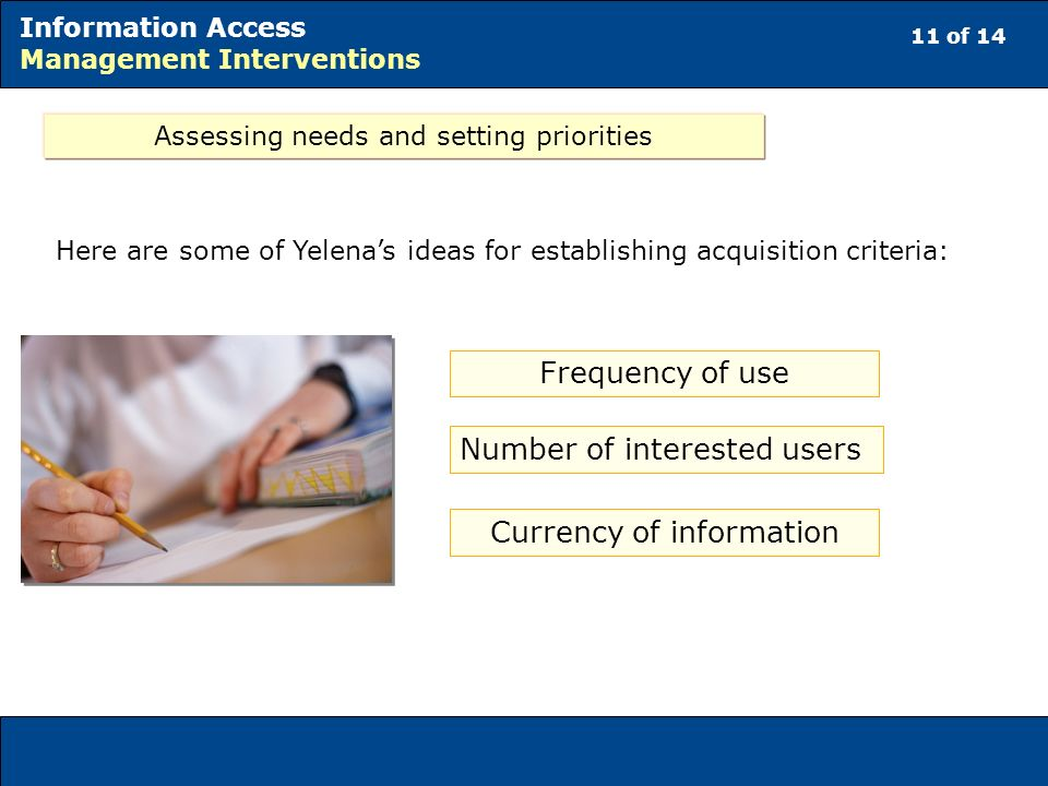 11 of 14 Information Access Management Interventions Assessing needs and setting priorities Frequency of use Number of interested users Currency of information Here are some of Yelenas ideas for establishing acquisition criteria: