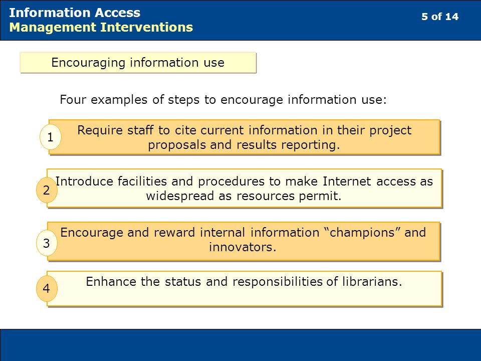 5 of 14 Information Access Management Interventions Encouraging information use Four examples of steps to encourage information use: Require staff to cite current information in their project proposals and results reporting.