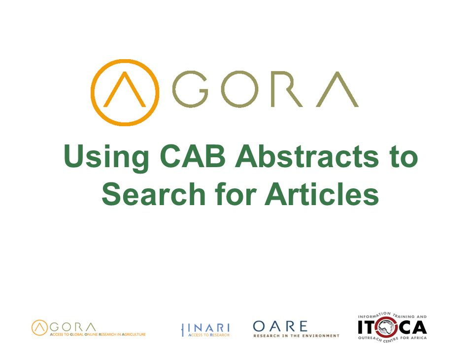 Using CAB Abstracts to Search for Articles