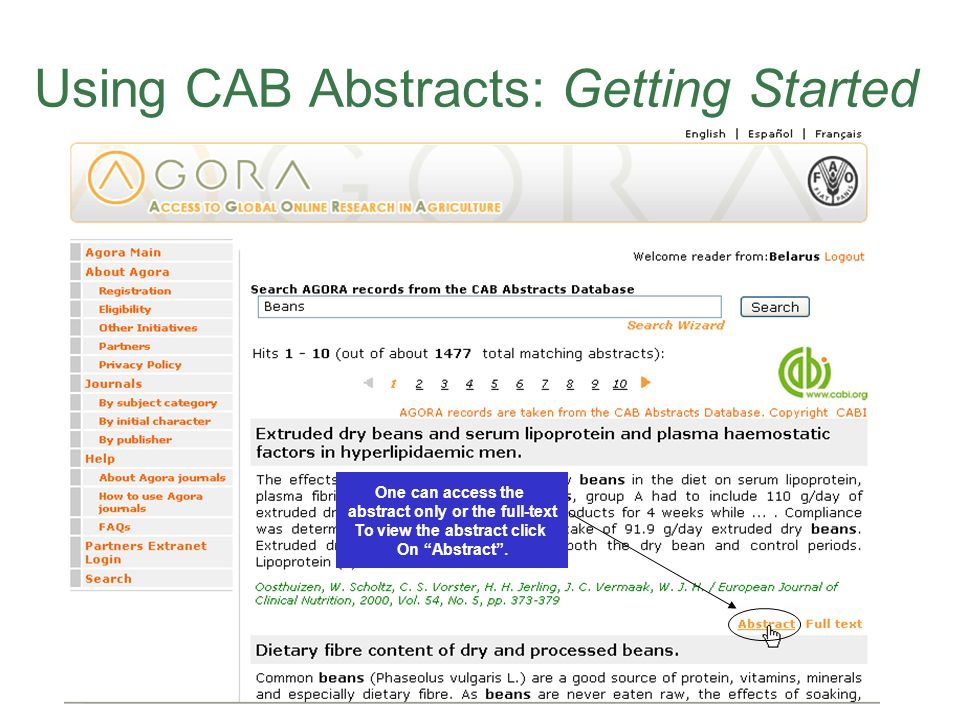 Using CAB Abstracts: Getting Started One can access the abstract only or the full-text To view the abstract click On Abstract.