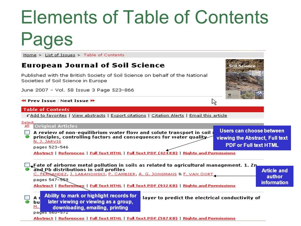 Elements of Table of Contents Pages Users can choose between viewing the Abstract, Full text PDF or Full text HTML Ability to mark or highlight records for later viewing or viewing as a group, downloading,  ing, printing Article and author information