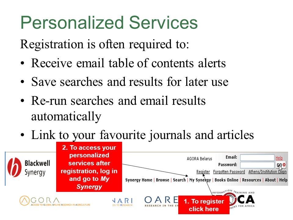 Personalized Services Registration is often required to: Receive  table of contents alerts Save searches and results for later use Re-run searches and  results automatically Link to your favourite journals and articles 2.
