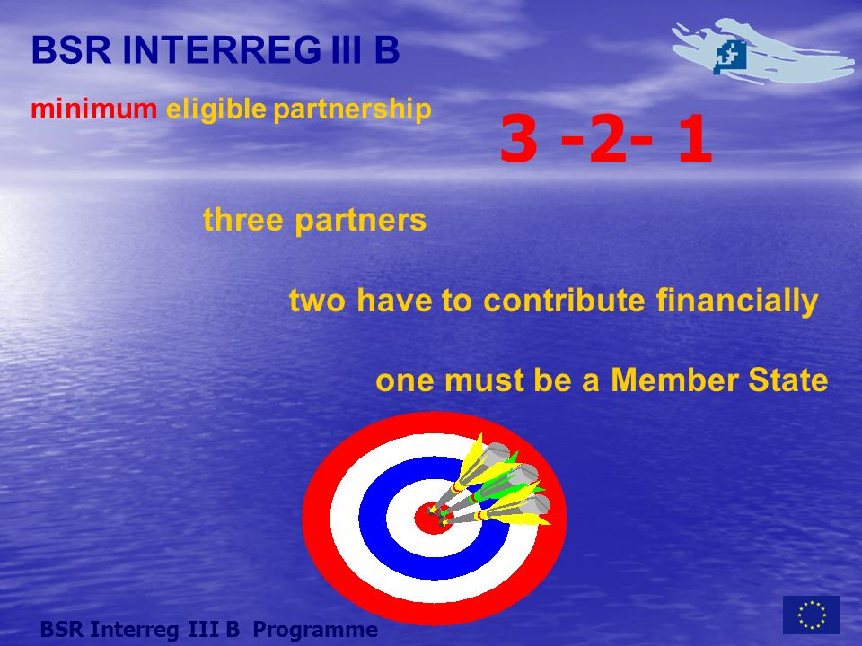 BSR INTERREG III B minimum eligible partnership three partners two have to contribute financially one must be a Member State BSR Interreg III B Programme