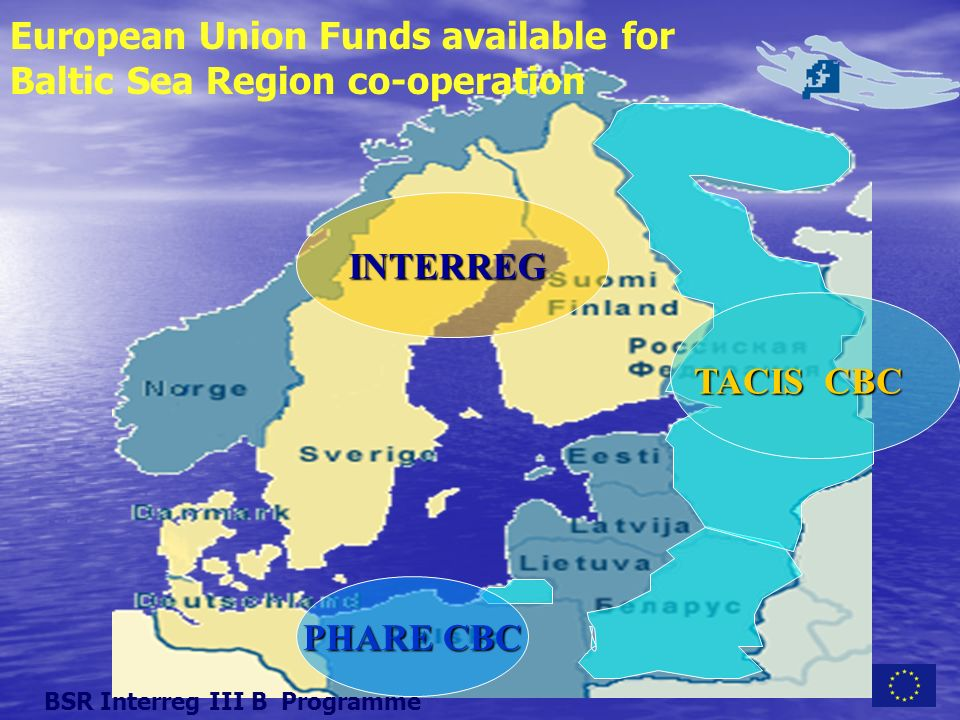 European Union Funds available for Baltic Sea Region co-operation PHARE CBC INTERREG TACIS CBC BSR Interreg III B Programme