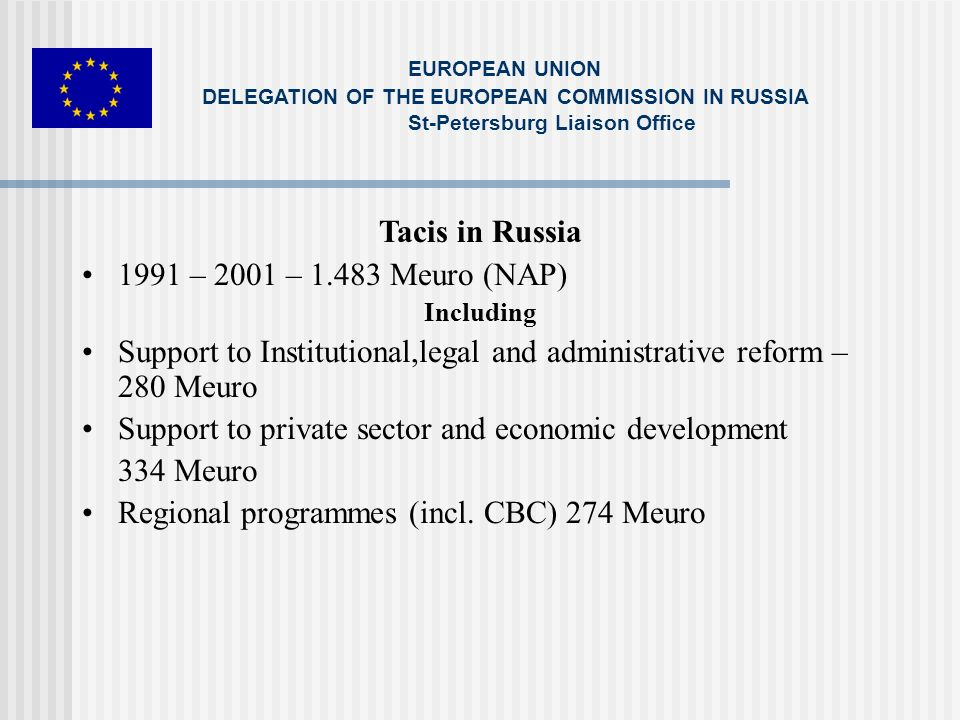 Tacis in Russia 1991 – 2001 – 1.483 Meuro (NAP) Including Support to Institutional,legal and administrative reform – 280 Meuro Support to private sector and economic development 334 Meuro Regional programmes (incl.