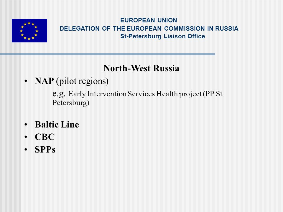 North-West Russia NAP (pilot regions) e.g. Early Intervention Services Health project (PP St.