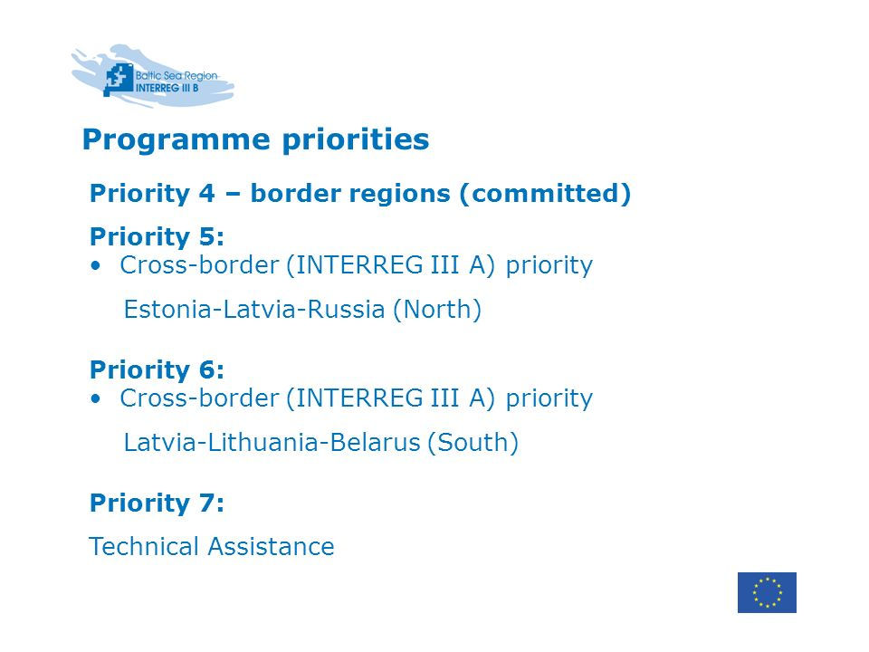 Priority 4 – border regions (committed) Priority 5: Cross-border (INTERREG III A) priority Estonia-Latvia-Russia (North) Priority 6: Cross-border (INTERREG III A) priority Latvia-Lithuania-Belarus (South) Priority 7: Technical Assistance Programme priorities